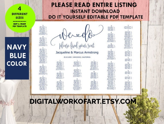 Navy blue wedding seating chart template editable seating plan pdf navy blue wedding seating chart template editable seating plan pdf template seating chart template find your seat modern sign we do from solutioingenieria Image collections