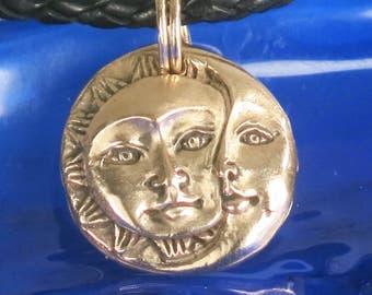Sun/Moon Bronze Pendant - Mariner - Day/Night - Celestial - Nautical Ritual Amulet - Handmade Sun Moon - Night/Day Celestial Bronze Pendant