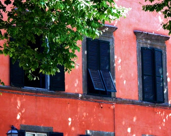Travel Photography- Blue Shutters In Lucca, Italy- Tuscany - Tuscan, European, Architectural, Fine Art Photography