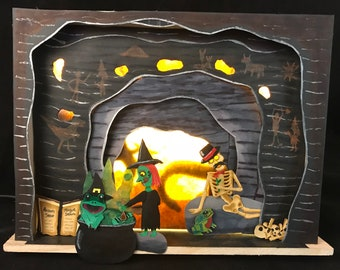 Witch's Prehistoric Cave Paper Art Diorama Light Up Shadow Box