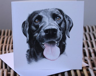 greeting card, blank card, black Labrador card, black lab card, Labrador card, Labrador blank card, dog card, Labrador, hand drawn card.card