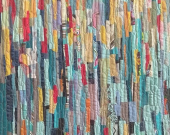 Abstract art quilt, wall hanging, 70x103 cm, framed.