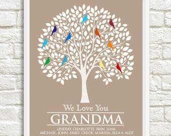 Gift for Grandmother, Grandma Christmas Gift,Custom Family Tree, Grandma Family Tree,Personalized Grandparent Gift, Grandma Gift