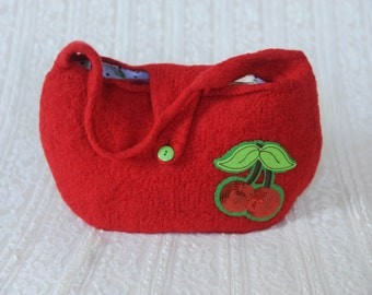 Life is Like a Bowl of Cherries! -Hand Knit Felted Lined Purse- Cheery Red with Cherry Applique, Vintage-y Cherry liner, Apple  green button