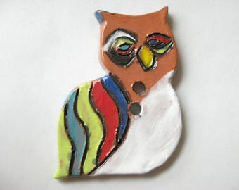 Rainbow Owl Ceramic Button