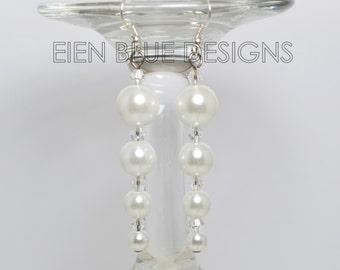 Pearl Dangle Earrings, White Pearl Tapered Earrings, Long Pearl Earrings, Custom Color Pearl Earrings, White Pearl Earrings, Modern Jewelry