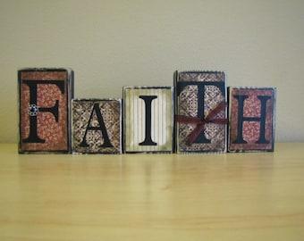 Faith Word Blocks Home Decor Religious Sign