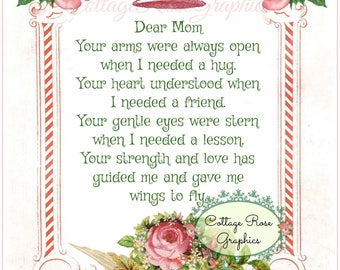 Dear Mom verse collage Pink Roses Large digital download BUY 3 get one FREE ecs svfteam