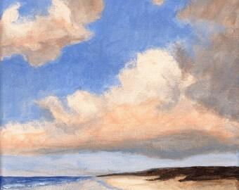 Original Landscape Painting Clouds 8x8 Sea and Sky Calm Stretched Canvas Sea Coast Beach Ocean