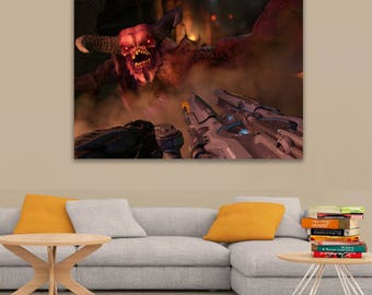 Doom 2016 Demon Gauss Cannon vs Baron of Hell Printed Wall Poster A0, A1, A2, A3, A4 Sizes Matte, Glossy Paper