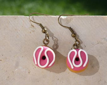 Earrings donuts polymer clay - raspberry doughnut ear hooks - earrings polymer clay rose - food jewelry