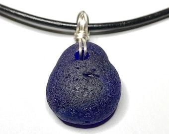 Genuine surf Tumbled Dark Blue Sea Glass Necklace