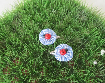"""Hair clips """"clic clac"""" sky blue and white striped flower"""
