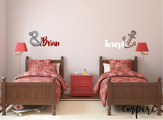 Nautical Anchor with Personalized Name, Boys Nautical Decals, Girls Nautical Wall Decals, Nautical Wall Decor