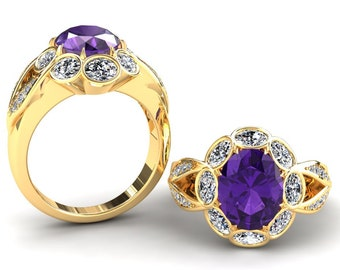 Amethyst And Moissanite Ring 2.50 Carat Oval Amethyst And Oval Moissanite Engagement Ring In 14k or 18k Yellow Gold SJW14PUY