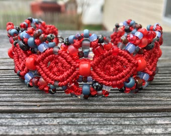 Micro-Macrame Cuff Bracelet. Modern Macrame. Beaded Cuff. Red and Blue Bracelet. Macrame Cuff. Statement Jewelry. Boutique Fashion Piece.