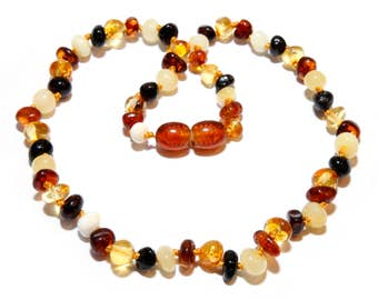 Baby Teething Necklace, Mixed Beads 30 - 32 cm, Baltic Amber Baby Necklace, Baby Jewelry, Gift for Baby, Baby Shower Gift, Handmade