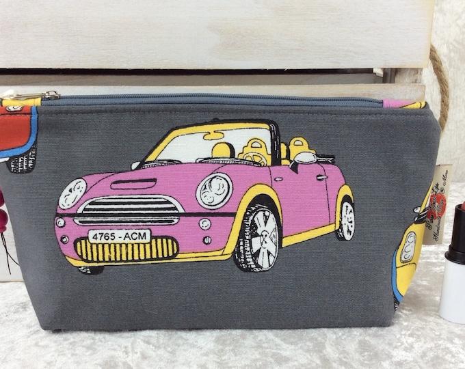 Handmade Zipper Case Zip Pouch fabric bag pencil case BMW Minis