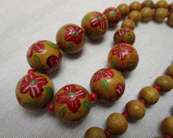 African Hand Painted Wood Bead Necklace Hand Made Bead Necklace Vintage Bead Necklace BOHO