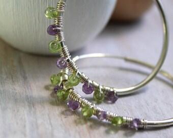Beaded Hoops For Her - Hoop Earrings Large - Amethyst and Peridot  Green Earrings - Silver Jewelry - Gemstone Jewelry