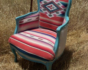 Custom Turquoise and Pink Serape Cowhide Chair