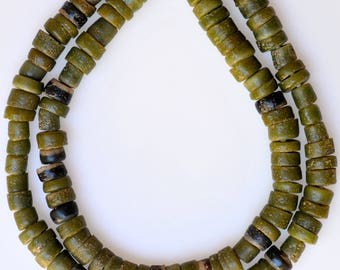 26 Inch Strand of Green African Sand Cast Beads - Vintage African Trade Beads - SAND135