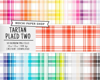 Tartan Plaid Digital Paper, 50 Rainbow Plaid Patterns, Tartan Scrapbook, Colorful Plaid Download, Plaid Graphics, Plaid PNG
