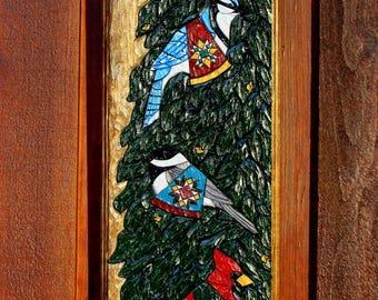 Hand Carved Adirondack Birds - Wall Hanging