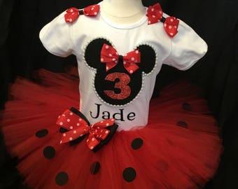 Little  girls handmade Minnie mouse tutu outfit