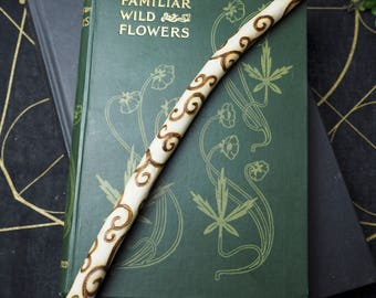 English Willow Wood Spiral Wand - with Bag - Seership & Divination -  for Pagans, Wiccans, Witchcraft, Ritual, Magic, Pyrography