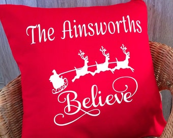 Personalised Christmas Cushion Cover, Scatter Cushion, Believe Cushion, Christmas decoration, Handmade in the UK