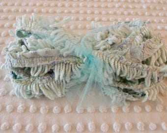 "SALE - Vintage Chenille Bedspread Fringe - 1"" mint green twisted fringe, 298"" - 8 yards 10 inches - #600-88"