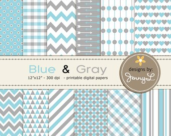 Blue Gray Digital Papers, Chevron, Hearts, Plaid , Arrow Stripe Scrapbooking Background Papers, Baby Shower, Baby Baptism, Nursery Room