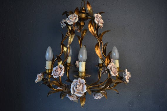 Fabulous Italian tole Flower Chandelier with porcelain roses.