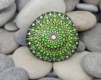 Green Painted Stone - Lime Painted Rock - Mandala Stone - Meditation Mandala Rock - Unique Home Decor - Dotilism - Paperweight
