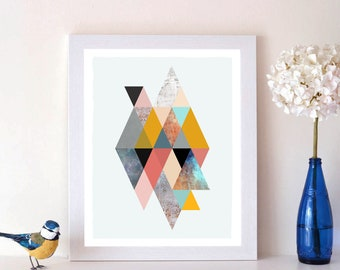 Geometric Retro Triangles, Scandi Print, Geometric Print, Triangle Print, Triangle Poster, Minimalist Poster, Abstract Print, Geometric Art