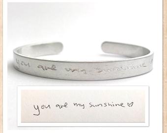 Handwriting Cuff Bracelet | Engraved Personalized | Custom Actual Handwriting | Hidden Message | Aluminum Lightweight