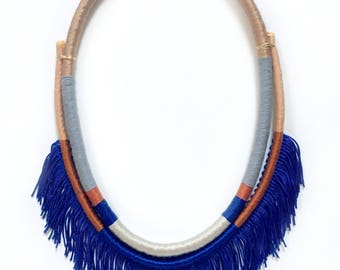Melody- Wrapped fringed statement necklace