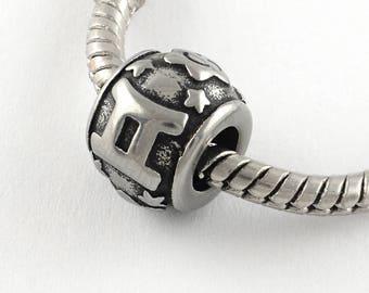 Stainless Steel Gemini Charms Astrology Charms Horoscope Charms European Beads For European Charm Bracelets #14-SB