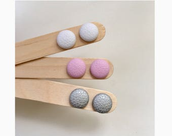 15mm Faux Leather Fabric Button Stud Earrings • Surgical Steel • Hypoallergenic • Leatherette • White • Pastel Pink • Silver