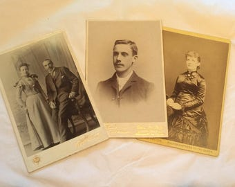 Vintage CDV photographs set of 3 Newcastle photographers Victorian?