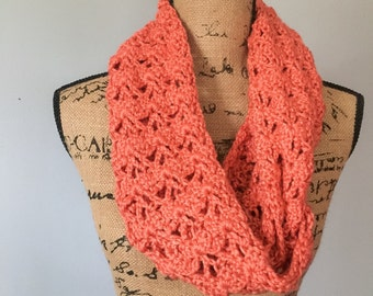 Women's Lacy Cowl, Crochet scarf, Purple, Green, Coral Infinity Scarf
