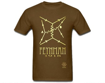 Feynman Science TShirt, Math Illustration Shirt, Rock Star Scientist, Richard Feynman Diagrams, Mathematics Physics Minimalist Tshirt Design