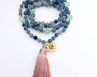 Gift For Mom, Prayer Beads, Mala Necklace, Knotted Mala Beads, 108 Mala Beads, Mala Beads, Strength Mala, Yoga Necklace, Mala, MKBA
