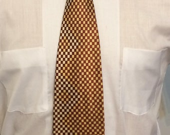 Vintage MENS 1940s-50s Majestic brown, white & yellow checkered rockabilly or swing tie