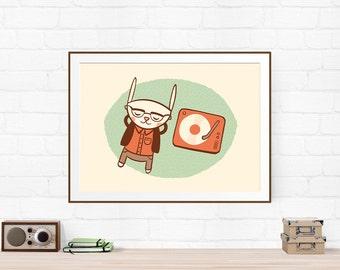 The Connoisseur, Music Art Print, Boyfriend Gift, Musician Gift, Music Gift, Music Illustration, Bunny Art Print, Nursery Art, Music Poster