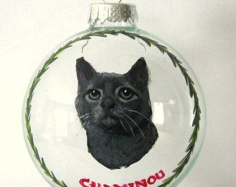 Gray Cat Painting, Personalized Pet Portrait, Cat Loss, Pet Memorial, Christmas Ball, Custom Cat, Gift for Mom, Pet Rememberance, Glass Art