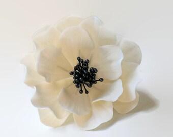 White and Black Open Rose Sugar Flower for wedding cake toppers, fondant decorations, bridal showers, gumpaste flower bouquet, cake decor