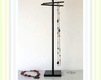 Tall Jewelry Organizer, Glossy Black Jewelry Rack, Long Necklace Tree, Craft Show Display Stand, Necklace Storage Lanyard Retail Scarf, Belt