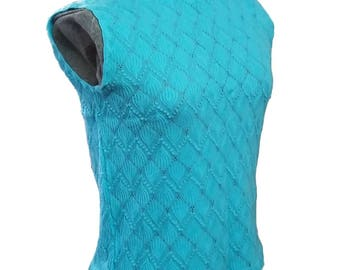 Vintage Knit Sleeveless Sweater Aqua Acrylace 50's Mid Century Fashion Patterned Knit Bright Small